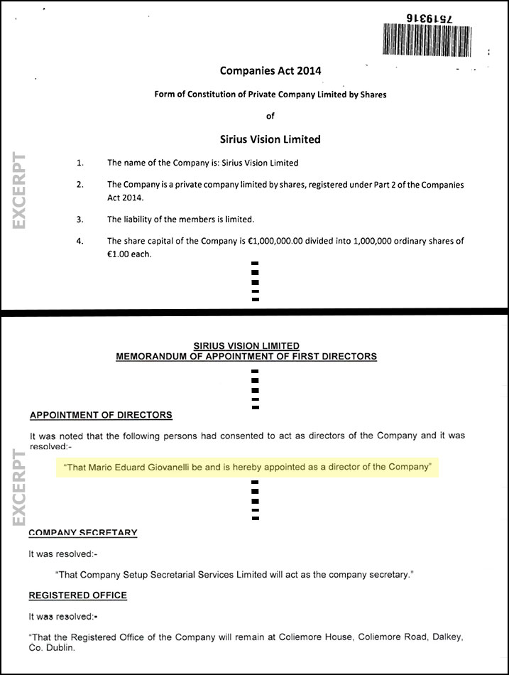 Sirius Vision Limited - Company documents excerpts