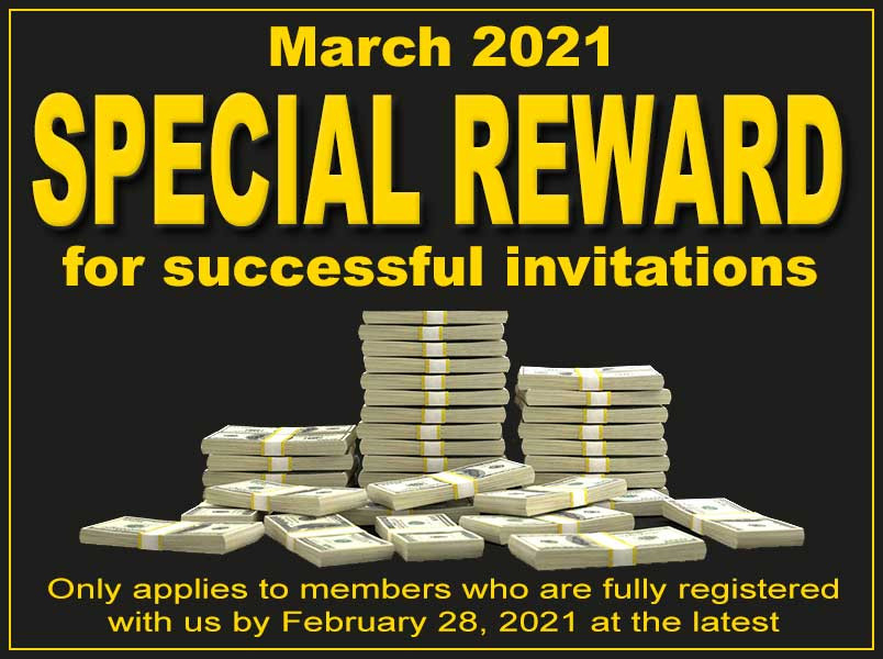 March 2021 - We offer a SPECIAL REWARD for successful invitations.Read more about at our newest blog entry: https://easylife.community/en/blog/14-recent/283-special-reward-for-successful-invitations